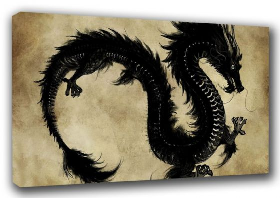 Black Chinese Dragon Art Canvas. Sizes: A3/A2/A1 (002510)